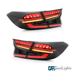 Vland Led W/ Sequential Indicato Smoke Tail Lights For Honda Accord 2018-2020