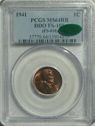 1941 1c Ddo Type-1 Lincoln Wheat Cent Doubled Die Obverse Fs-101 Pcgs Ms64rb Cac