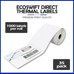 35000 4x6 Ecoswift Direct Thermal Labels Eltron Zebra - 3 Core 1000 Per Roll