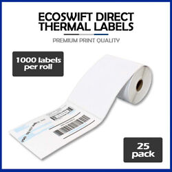 25000 4x6 Ecoswift Direct Thermal Labels Eltron Zebra - 3 Core 1000 Per Roll