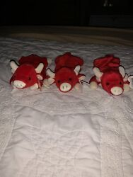 3 Ty Snort The Bull Beanie Babys 1995. Good Condition .