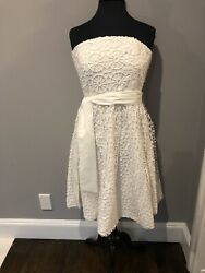 New With Tags Tibi White Lace Sleeveless Tube Womens 12 Party Dress Retail 570