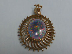 14k Gold And Blue Opal Doublet Sun Pendant 40x37 Mm, 17x19mm Stone, 15.0g