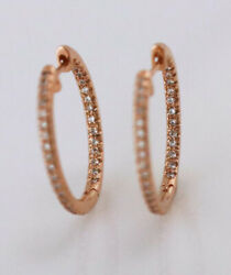 Black Friday2.00ct Natural Diamond 14k Solid Rose Gold Hoops Snapclosure Earring