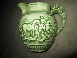 Vtg Porcelain Pitcher W Dog Handle And Hunt Scene Relief, Green Painted Wedgwood
