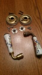 Vintage French Style Porcelain Door Pull. Brass Hardware. Roses. Door Pull.
