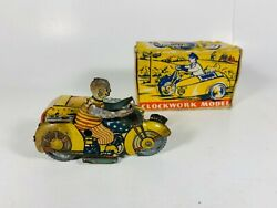 Clockwork Model Clown Windup Tin Motorcycle Sidecar W/ Box Gt Britain Rare As Is