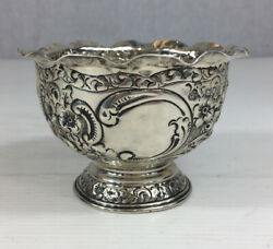 Antique 1899 Solid Silver Embossed Sugar Bowl On Pedestal 7cm In Height 86.4g