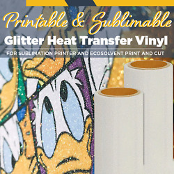 Glitter Printable EcoSolvent Heat Transfer Vinyl 20quot; 1 Yard Sublimation on Top