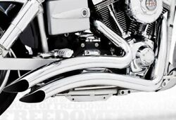 Sharp Curve Radius Complete Chrome Dual Exhaust System Harley Davidson And03906-14