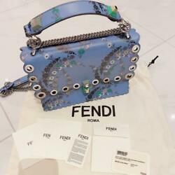AUTH Fendi Kyanai handbag shoulder bag light blue flowers design strap chain $2,081.61