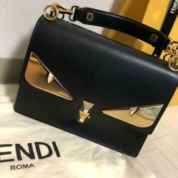 AUTH New Fendi Monster handbag black leather cute design with storage bag $3,503.55