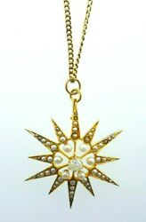 Antique 18k Yellow Gold Pearl And Diamond Star Motif Pendant Necklace