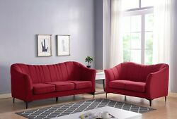 Living Room Furniture Cushion Sofa Contemporary Style Red Color Fabric 1pc Sofa