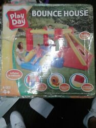 Play Day Bounce House W/ Teepee Fort And Slide Heavy Duty Blower And Carry Bag