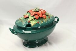 Fitz And Floyd Holiday Poinsettia Soup Tureen And Ladle Xmas
