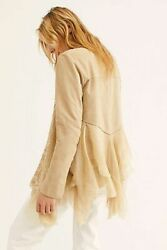 Brenda Knight For Free People Suede Floral Silk Jacket Sand Was 1200 L Rare