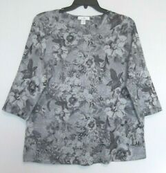 Cj Banks Soft Gray Floral Knit Top, 3/4 Sleeves, Bling Sizes 2x, 3x Nwt