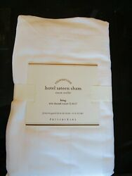 2 Pottery Barn Hotel Sateen King Shams White 600 Thread Count New With Tag