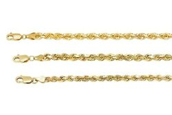 Solid 10k Yellow Gold 4mm-6mm Diamond Cut Rope Chain Pendant Necklace Sz 18-30