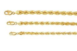Solid 10k Yellow Gold 6mm-8mm Diamond Cut Rope Chain Pendant Necklace Sz 18-30