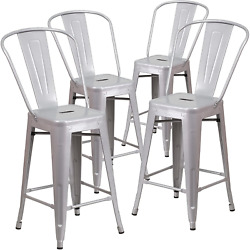 Belleze 4-pc 24and039and039 High Silver Indoor-outdoor Counter Height Stool With Back