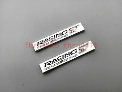 2PC Silver Black Ford Racing ST Car Fender Emblem Badge Trunk Decal Stickers