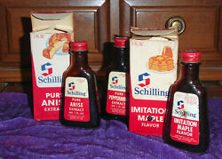 Vintage Schilling Extract Brown Bottles In Boxes -- Peppermint, Anise, Maple