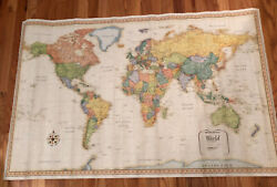 Classic Edition World Wall Map Rand Mcnally Large 50 X 32 Parchment Style Paper