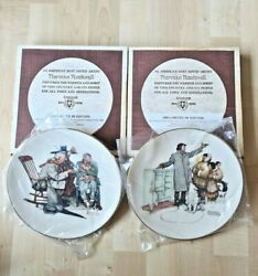 Norman Rockwell 1983 And 1984 Collectible Plates Gold Plated Rims Original Boxes