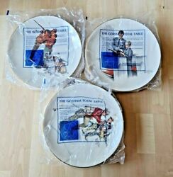 Norman Rockwell 1980 Collectible Plates The Tender Years Gold Plated Rims 3pc