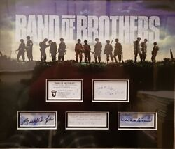 Band Of Brothers Veterans Signed 46x39cm Photo Display Easy Company Coa