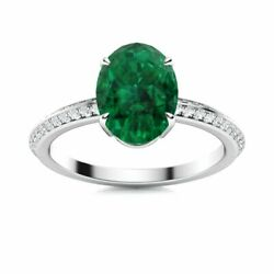 Natural 1.35 Ct Oval Emerald And Diamond Women's Ring In 14k White Gold