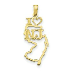 10k Yellow Gold I Love New Jersey Nj Letters With Heart On State Pendant 21x10mm