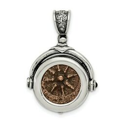 Sterling Silver Bronze Antiqued Widows Mite Coin Charm Pendant 23 Mm X 25 Mm