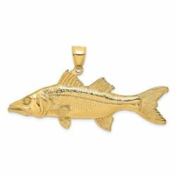 14k Yellow Gold 3-d Snook Fish Charm Pendant Msrp 2667