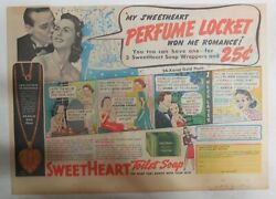 Sweetheart Soap Ad Perfume Locket Premium From 1940's 11 X 15 Inches