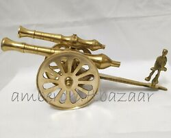 Vintage And Antique Brass Double Barrel Cannon With Man Miniatures Home Decoration