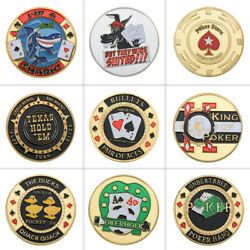 9pcs Gold Poker Card Guard Coin Poker Chip Table Games Casino For Collection