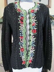 Rare Hand Knit Wolkenstricker Embroidered Cardigan Sweater Cloud Knit Size M