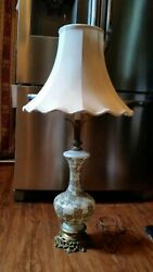 Vintage Tall Large White Fancy Table Lamp - No Shade