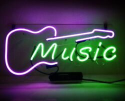 Real Glass Display Neon Signs Music 14x9