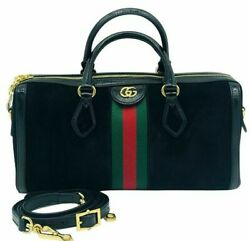 Womens Designer Gucci Ophidia Boston Black Suede bag $1,439.35
