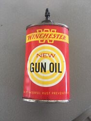 Vintage Red Yellow Winchester Gun Oil Can 3 Fluid Ounces 80 Full