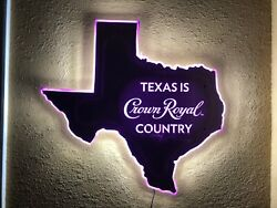 Crown Royal Whisky Led Bar Sign Man Cave Garage Light Texas Country Whiskey