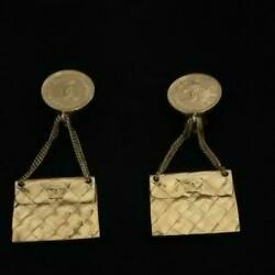 AUTH Chanel Earrings Coco mark coin & Bag design gold color $1,064.96