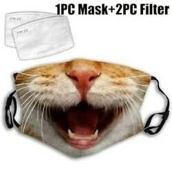Fashion Women Men Mask Cute Cat Printed Face Mask with 2PC Filter for Outdoor $6.59