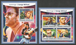 CENTRAL AFRICA 2017 POP ROCK MUSIC GEORGE MICHAEL SET OF 2 SHEETS MNH GBP 9.95