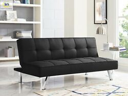 Upholstery Fabric Sofa Black Multi Function Futon Bed Modern 3 Seat Full Couch