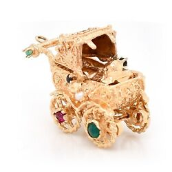Charm Pendant 14k Yellow Gold Baby In Carriage With Accents Gemstones Estate